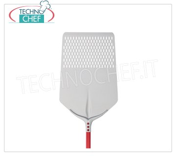 TECHNOCHEF - Rectangular Perforated Pizza Shovel Tulip in Aluminum 40x60 cm Perforated RECTANGULAR pizza shovel Tulip in anodized aluminum, dim.cm.40x60, handle length mt.1,20.