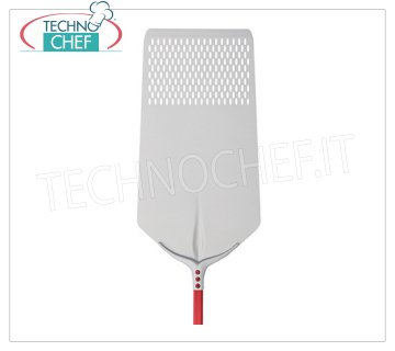 TECHNOCHEF - Rectangular Perforated Pizza Shovel Tulip in Aluminum 40x80 cm Perforated RECTANGULAR pizza shovel Tulip in anodized aluminum, dim.cm.40x80, handle length mt.1,20.