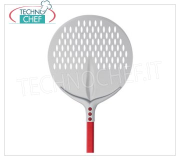 TECHNOCHEF - Round Aluminum Perforated Pizza Shovel Ø 41 cm Pizza bar TONDA PERATATA Tulip in anodized aluminum, diameter 41 cm, handle length 1.20 m.