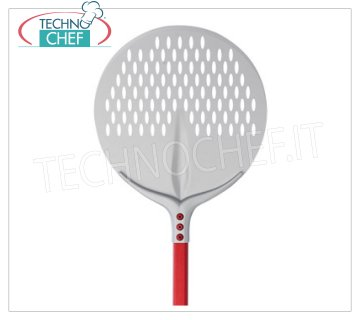 TECHNOCHEF - Round Aluminum Perforated Pizza Shovel Ø 45 cm Pizza bar TONDA PERATATA Tulip in anodized aluminum, diameter 45 cm, handle length 1.20 m.