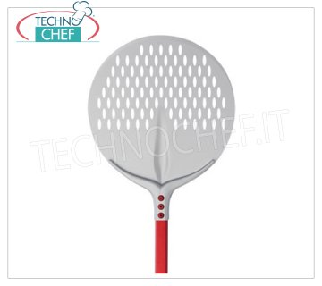 TECHNOCHEF - Round Perforated Tulip Pizza Shovel in Aluminum Ø 33 cm ROUNDED pizza shovel Tulip in anodised aluminum, diameter 33 cm, handle length 1,2 m.