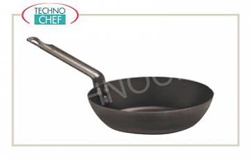 Paderno - Lyonnaise IRON Pans, 1 handle, Professional for Induction Lionese pan in HEAVY IRON with 1 handle, suitable for Induction, diam. 16 cm, 4 cm high