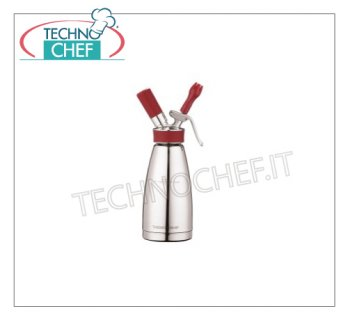 Inox steel double wall siphon, multipurpose, from Lt 0,5 - cod. 41455T55 THERMO WHIP Double Wall Multipurpose Stainless Steel THERMO Siphon - THERMO WHIP line, suitable for Cold and Drop Preparations