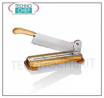Technochef - Manual bread cutter Bread slicer-Manual bread cutter on wooden base, Weight 2,1 Kg, dim. mm. 410x150x100h
