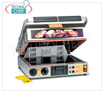 TECHNOCHEF - Double Ceramic Glass Oven Plate, Smooth Top and Striped 40x30 cm, Mod.PF2095 OVEN PLATE IN TABLE GLASS, with LISCIO lower surface and RIGATO upper surface of 400x300 mm, 2 handle positions: ↑ oven and ↓ plate, GRILL and VENTILATION function, V.230 / 1, Kw.2.00, Weight 34 Kg , dim.mm.500x540x630h