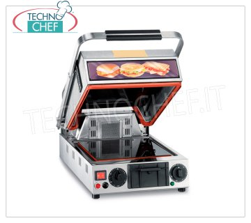 TECHNOCHEF - Single Ceramic Glass Oven Plate, Smooth top cm.25x25, Mod.PF2097 OVEN PLATE IN TABLE GLASS, with 250x250 mm LISCI cooking surfaces, 2 handle positions: ↑ oven and ↓ plate, GRILL function, V.230 / 1, Kw.1,35, Weight 21 Kg, dim.mm. 360x500x560h