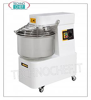 SPIRAL MIXER with 10 lt. Bowl for 8 kg of dough SPIRAL MIXER, with lt.10 fixed head and bowl, 8 kg mixing capacity, complete with kneader rod, timer and wheels, V.230 / 1, Kw.0.37, Weight Kg.42, dim.mm .260x500x500h