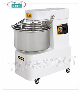 SPIRAL MIXER with tub of lt.32 for 25 Kg of dough SPIRAL MIXER, with head and fixed basin of lt.32, mixing capacity 25 Kg, complete with kneader rod, timer and wheels, V.230 / 1, Kw.1.1, Weight 86.6 Kg, dim. mm.424x735x805h