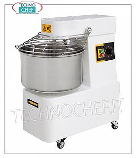 SPIRAL MIXER with 48 liter tank for 42 Kg of dough SPIRAL MIXER, with 48 cm head and fixed bowl, 42 kg mixing capacity, complete with kneader rod, timer and wheels, V.230 / 1, Kw.1,5, Weight Kg.97.4, dim .mm.480x805x825h