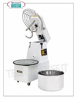 SPIRAL MIXER with liftable head and removable tank lt.10 SPIRAL MIXER, with liftable head and 10-liter removable bowl, mixing capacity 8 Kg, complete with kneader rod, timer and wheels, V.230 / 1, Kw.0.37, Weight Kg.58, dim. mm.385x670x675h