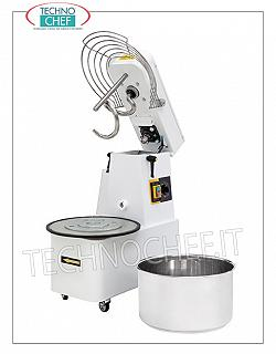 SPIRAL MIXER with liftable head and removable tank lt.22 SPIRAL MIXER, with liftable head and removable tank of lt.22, mixing capacity 17 Kg, complete with kneader rod, timer and wheels, V.400 / 3, Kw.0,75, Weight Kg.81, dim. mm.385x670x725h