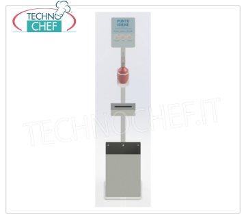 Floor lamp with manual dispenser, glove holder and basket Floor-Column with Manual Dispenser for hand sanitizing disinfectant Gel, complete with 500 ml Dispenser, Gloves-Towel Holder and Basket, dimensions mm.330x330x1668h