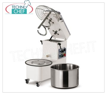 18 kg SPIRAL MIXER, with LIFTABLE HEAD and REMOVABLE BOWL Spiral mixer with liftable head and 20 liter removable bowl, dough capacity 18 Kg, V 230/1, kW 0.90, Weight 85 Kg, dim. mm 697x390x702h