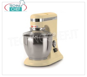FAMA - 5 lt. Planetary Professional Dough Mixer, BAKER PM Line, Mod. PM5 Professional Planetary Dough Mixer with 5 liter stainless steel bowl, BAKER PM Line, complete with hook, stainless steel spatula and whisk, electronic speed variator, V.230 / 1, Kw.0.3, Weight 13 Kg, dim.mm.230x350x400h