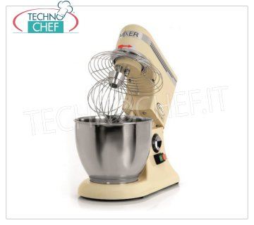 FAMA - Professional Planetary mixer from 7,5 lt - BAKER PM Line, Mod. PM7 Professional Planetary Dough Mixer with 7.5 liter stainless steel tank, BAKER PM Line, complete with hook, stainless steel spatula and whisk, electronic speed variator, V.230 / 1, Kw.0.325, Weight 15 Kg, dim.mm.250x420x420h