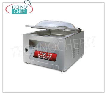 EUROMATIC - Technochef, Professional Chamber Vacuum Packaging Machine, Bar 25 cm, Mod.POCKET DISPLAY VACUUM PACKAGING MACHINE with BENCH, CAMERA mm.260x300x160h, SOLDERING BAR 250 mm, VACUUM PUMP 6 / 7.2 meters / cubic / hour, V.230 / 1, Kw. 0,35, Weight Kg.32, dim.mm.360x400x400h