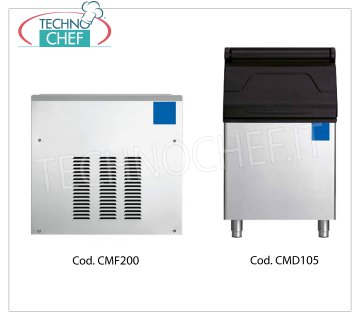 Manufacturers / granular ice machines without deposit, yield 200 Kg / 24 hours Granular ice maker, without deposit, stainless steel exterior, air cooling, V 230/1, yield 200 Kg / 24 hours, dimensions 560x533x542h, weight 49 Kg.