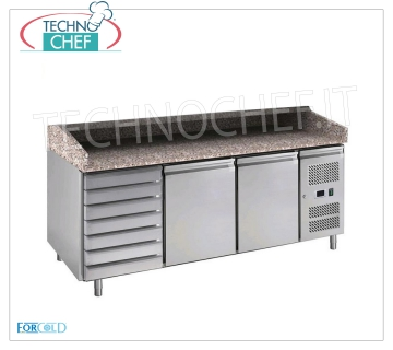 Forcold - 2 DOORS + DRAWER refrigerated pizza counter, Ventilated, Class C, model G-PZ2610TN-FC REFRIGERATED PIZZA COUNTER 2 DOORS + DRAWER UNIT, granite top with upstand on 3 sides, temperature + 2 ° / + 8 ° C, ventilated, ECO-FRIENDLY in Class C, Gas R600a, V.230 / 1, Kw.0,275, Weight 327 Kg , dim.mm.2020x800x1000h