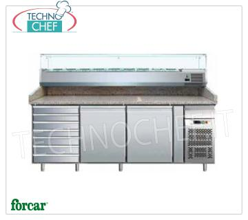 Refrigerated pizza counter 2 DOORS + CHEST OF DRAWERS, with DEEP 330 or 380 mm display case, FORCAR brand Refrigerated pizza counter 2 DOORS + CHEST OF DRAWERS, FORCAR Brand, with 330 mm deep refrigerated display case, capacity 10 GN 1/4 (mm 265x162), operating temperature + 2 / + 8 ° C, V.230 / 1, Kw. 0.35, dim.mm.2025x800x1390h