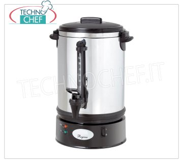Technochef - AMERICAN COFFEE MACHINE lt.15, Mod.REG9 American coffee machine in stainless steel, capacity lt.15, max volume: 90 cups, V.230 / 1, Kw.0.16, Weight 4.5 Kg, diameter mm 270x460h.