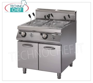 Technochef - GAS PASTA COOKER on MOBILE, 2 wells of 40 + 40 lt, mod.PK90 / 80CPGS Gas pasta cooker on cabinet, 900 line, 2 stainless steel tanks of 40 + 40 lt, thermal power Kw. 23,6, weight 171 kg, dimensions 800x900x870h mm