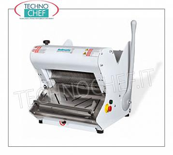 Electric bread slicer for Hard Crust Loafs max 42 cm long ELECTRIC BREAD SLICER with MANUAL HALF LEVER CONTROL, for LUNCH BREAD with HARD CRUST, max length 42 cm, cutting height up to 18 cm, slice thickness from 7 to 18 mm, motor from Kw. 0,75, V. 400/3, Weight 101 Kg, dim.mm.557x604x595h