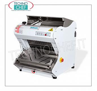Automatic Electric Bread Cutter for Hard Crust Loaves, 42 cm long ELECTRIC, AUTOMATIC, PROGRAMMABLE BREAD SLICER, with top cover for LUNCH BREAD with HARD CRUST, max length 42 cm, cutting height up to 18 cm, slice thickness at choice from 7 to 18 mm, motor from Kw. 0,75, V .400 / 3, Weight 101 Kg, dim.mm.557x604x595h