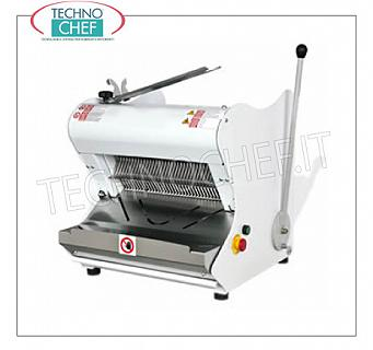 Electric Bread Cutter for Loaves with soft rind, max length 42 cm ELECTRIC BREAD SLICER with HALF LEVER MANUAL CONTROL, for LUNCH BREAD with SOFT CRUST, max length 42 cm, cutting height up to 18 cm, slice thickness of choice from 7 to 18 mm, motor from Kw. 0,55, V. 400/3, Weight 98 Kg, dim.mm.557x604x595h