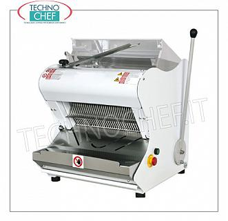Electric bread cutter with Cover for Loaves with soft rind, max length 42 cm ELECTRIC BREAD SLICER with HALF LEVER MANUAL CONTROL, UPPER COVER for LUNCH BREAD with SOFT CRUST, max length 42 cm, cutting height up to 18 cm, slice thickness from 7 to 18 mm, motor from Kw. 0,55, V.400 / 3, Weight 98 Kg, dim.mm.557x604x595h