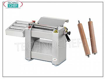 TECHNOCHEF - Professional dough sheeter with Rollers 250 mm, Mod.SF250 Sheeter with 3-slice pasta cutter with stainless steel rollers. Cutting width: 1.65 - 2 - 3 - 4 - 6/7 - 9 - 12/13 - 19 - 24 mm, V.400 / 3