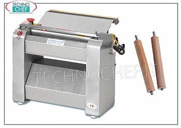 TECHNOCHEF - Professional pasta sheeter with 320 mm rollers, Mod.SF320 Pasta sheeter with LARGHI 320 mm stainless steel rollers, V 400/3, 0.60 kW, dim. mm 550x350x400h