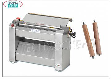 TECHNOCHEF - Professional sheeter for pasta with 400 mm rollers, Mod. SF400 Pasta sheeter with stainless steel rollers LARGHI 400 mm, V 400/3, kW 0.60, dim. mm 640x350x400h