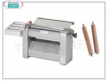 TECHNOCHEF - Professional pasta sheeter with 400 mm rollers, Mod. SF400 DOUGH SHEETER with TAGLIASFOGLIA with THREE CUTS with ROLLS INOX 400 mm wide, V 400/3, kW 0.60, dim. mm 640x350x400h, cuts width: 1.65 - 2 - 3 - 4 - 6/7 - 9 - 12/13 - 19 - 24 mm