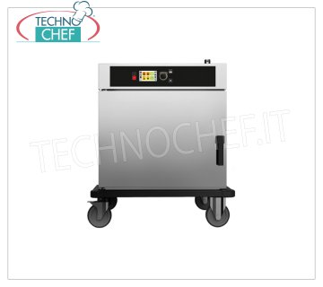 HOT temperature maintenance trolley and TEMPERATURE REMOVAL, 6 GN 1/1 HOT trolley for MAINTENANCE and TEMPERATURE REMOVAL of COOKED FOOD, Version with ELECTRONIC CONTROLS, capacity 6 gastro-norm 1/1, V.400 / 3, Kw 3,2, Weight 77 Kg, dimensions mm 880x785x970h