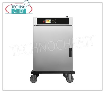 HOT and TEMPERATURE temperature holding trolley, 10 GN 1/1 HOT Trolley for MAINTENANCE and RETURN ON COOKED FOOD TEMPERATURE, Version with ELECTRONIC CONTROLS, capacity 10 gastro-norm 1/1, V.400 / 3, Kw 6.5, Weight 102 Kg, dimensions 880x785x1270h