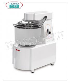 Spiral mixers with 16 lt bowl for 12 kg of dough SPIRAL MIXER with HEAD and FIXED TANK of 16 liters, mixing capacity 12 kg, SINGLE PHASE, V 230/1, kW 0,55, weight 68 kg, dimensions mm 400x630x700h
