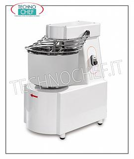 SPIRAL MIXER with fixed bowl of lt. 7 for 6 kg of dough SPIRAL MIXER with HEAD and FIXED TANK 7 liters, dough capacity 6 kg, SINGLE PHASE, V 230/1, kW 0,22, weight 34 kg, dimensions mm 290x450x550h