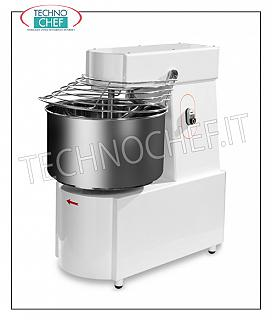 SPIRAL MIXER with 32 lt tank for 25 kg of dough SPIRAL MIXER with HEAD and FIXED TANK 32 liters, mixing capacity 25 kg, SINGLE PHASE, V 230/1, kW 1,1, weight 95 kg, dimensions 440x680x780h mm