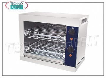 Toasters and toasters TOASTER with STAINLESS STEEL structure, QUARTZ resistance, time adjustment switch, internal chamber dimensions mm 320x220x160h, V.230 / 1, kw 2,0, external dimensions mm 440x240x250h