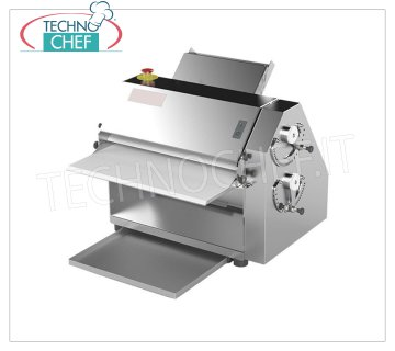 TECHNOCHEF - Vertical Table Sheeter, Professional, 500 mm Cylinders, Mod.RV50 Compact Vertical sheeter in stainless steel for Pasta, Piadina, Pizza, cylinder width 500 mm, V. 230/1, Kw.0.37, Weight 85 Kg, dim.mm.648x606x556h