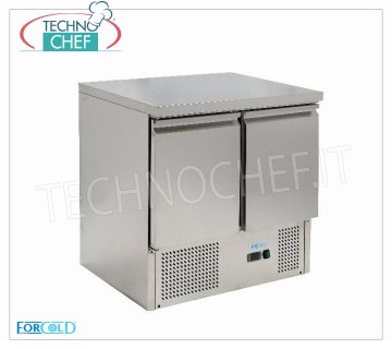Forcold - Fridge / Refrigerated Table 2 Doors, Temp. + 2 ° / + 8 ° C, lt. 240, Static, Class E, mod.G-S901-FC Refrigerated Table 2 Doors, Professional, capacity 240 lt, Temperature + 2 ° / + 8 ° C, Static refrigeration, Gastro-Norm 1/1, ECOLOGICAL in Class E, Gas R600a, V.230 / 1, Kw.0,235, Weight 65 Kg, dim.mm.900x700x850h