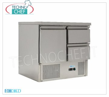 Forcold-Fridge / Refrigerated Table 1 Door + 2 Drawers, Temp. + 2 ° / + 10 ° C, lt. 230, Static, mod.G-S9012D-FC Refrigerated Table 1 Door and 2 Drawers, Professional, capacity lt.230, Temperature + 2 ° / + 10 ° C, Static refrigeration, Gastro-Norm 1/1, Gas R600a, V.230 / 1, Kw.0,235, Weight 71 Kg, dim.mm.900x700x850h