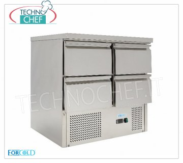Forcold - Fridge / Refrigerated Table 4 Drawers, Temp. + 2 ° / + 10 ° C, lt. 220, Static, mod.G-S9014D-FC Refrigerated Table with 4 Drawers, Professional, capacity 220 lt, Temperature + 2 ° / + 10 ° C, Static refrigeration, Gastro-Norm 1/1, Gas R600a, V.230 / 1, Kw.0,235, Weight 80 Kg, dim.mm.900x700x850h