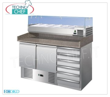 Forcold - Refrigerated Pizza Counter 2 Doors + Drawer Unit, with 330 or 380 mm deep display case, Static Refrigerated pizza counter 2 Doors + Drawer unit, with 330 mm deep refrigerated display case, 6 GN 1/4 pans (265x162 mm), Temp. + 2 ° / + 8 ° C, Static, ECOLOGICAL in Class E, Gas R600a, V. 230/1, Kw.0,235, dim.mm.1420x700x1455h