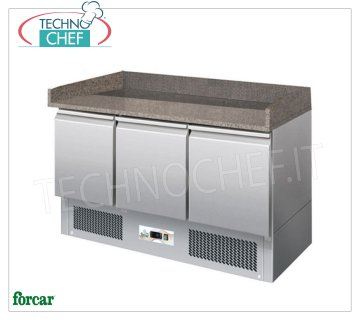 Forcar - Refrigerated Pizza Counter 3 Doors, Temp. + 2 ° / + 8 ° C, Static, Class C, mod.G-S903PZ 3-door refrigerated pizza counter, granite top with upstand on 3 sides, Temp. + 2 ° / + 8 ° C, Static, ECOLOGICAL in Class C, Gas R600a, V.230 / 1, Kw.0,235, Weight 170 Kg, dim.mm.1400x700x1020h