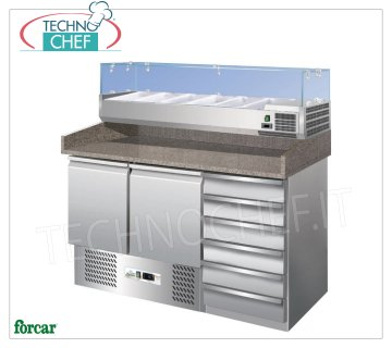 Forcar - Refrigerated Pizza Counter 2 Doors + Drawer Unit, with 330 or 380 mm deep display case, Class C 2-door refrigerated pizza counter + 6-drawer chest of drawers, with 330 mm deep refrigerated display case, 6 GN 1/4 pans (265x162 mm), temp. + 2 ° / + 8 ° C, Static, ECOLOGICAL in Class C, Gas R600a , V.230 / 1, Kw.0,155, dim.mm.1400x700x1465h