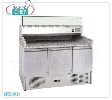 Forcold - Refrigerated Pizza Counter 3 Doors, with 330 or 380 mm deep display case, Static, Class E 3-door refrigerated pizza counter, with 330 mm deep refrigerated display case, 6 GN 1/4 containers (265x162 mm), temp. + 2 ° / + 8 ° C, Static, ECOLOGICAL in Class E, Gas R600a, V.230 / 1, Kw.0,435, dim.mm.1400x700x1455h