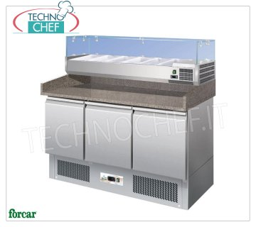 Forcar - 3 Door Refrigerated Pizza Counter, with 330 or 380 mm deep showcase, Static, Class C 3-door refrigerated pizza counter, with 330 mm deep refrigerated display case, capacity 6 GN 1/4 pans (265x162 mm), temp. + 2 ° / + 8 ° C, Static, ECOLOGICAL in Class C, Gas R600a, V.230 / 1, Kw.0,235, dim.mm.1400x700x1465h