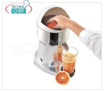 Open electric juicer, Professional, Mod.S98 Open electric citrus juicer, MANUAL operation, LIGHT ALLOY structure, PAINTED version, VENTILATED asynchronous motor in continuous service, V. 230/1, Kw 0,25, Weight 6,5 kg, dim.mm.240x200x370h