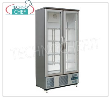 Forcar - Showcase Fridge for DRINKS, 2 Doors, lt. 490, Static, Temp. + 2 ° / + 8 ° C, mod.G-SC500GSS Professional Refrigerator for Beverage-Drinks, 2 glass doors, lt. 490, Temp. + 2 ° / + 8 ° C, Static, Gas R600a, led lighting, V.230 / 1, Kw.0.25, Weight 125 Kg, dim.mm.920x520x1880h
